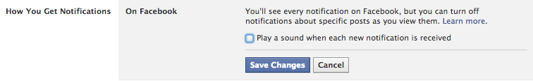 Notifications sonores Facebook