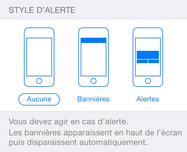 Comment désactiver les notifications iOS sous forme de bannière